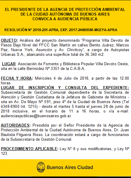"Audiencia Pública ""Programa Villa Devoto"""
